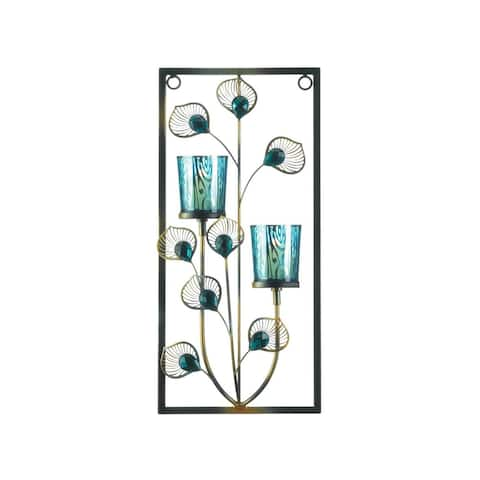 Peacock Double Candle Sconce - Blue
