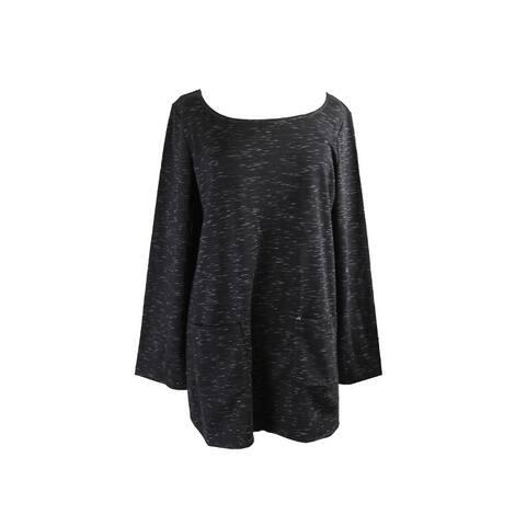Studio M Black Heather 3/4-Sleeve Pocket Tunic L