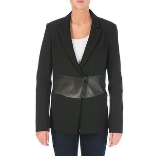 Tibi Womens Lamb Leather Trim Blazer