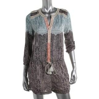 Twelfth Street by Cynthia Vincent Womens Silk Blend Printed Romper - L