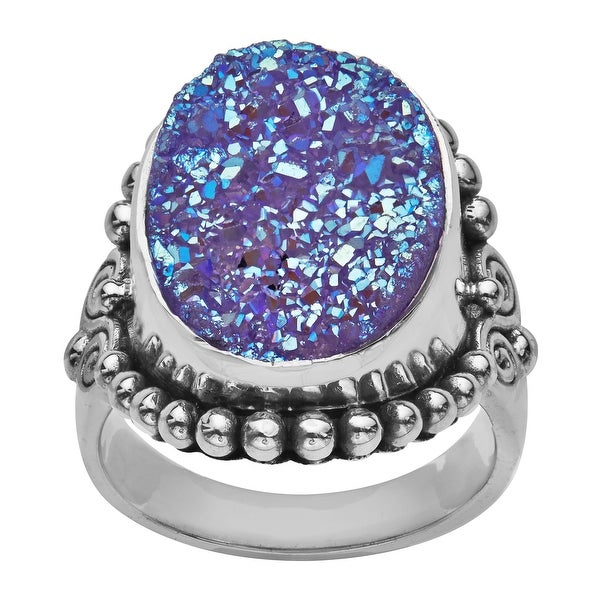 Sajen Lavender Druzy Ring in Sterling Silver - Purple