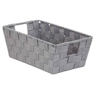 Home Basics PB49681 Small Woven Strap Bin Metallic Silver