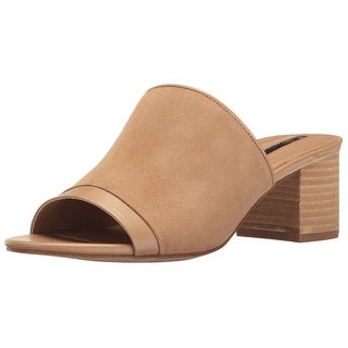 Tahari Womens Daisie Leather Open Toe Casual Mule Sandals