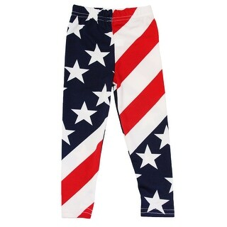 Baby Girls Red White Blue Star Stripe Print Patriotic Stretchy Leggings