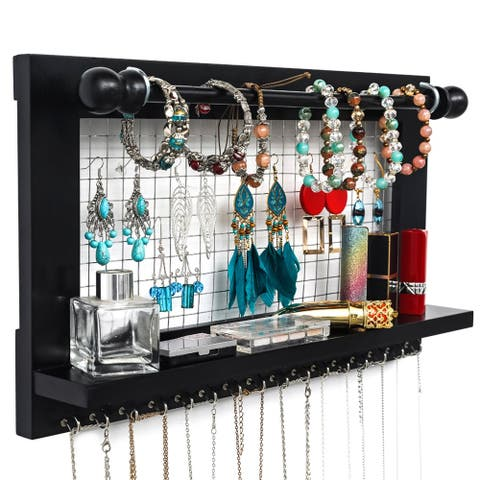 Jewelry Manager - Wall Mounted Jewelry Stand w/Detachable Bracelet Bar