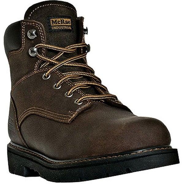"""McRae Industrial Work Boots Mens 6"""" Shaft King Toe Dark Brown"""