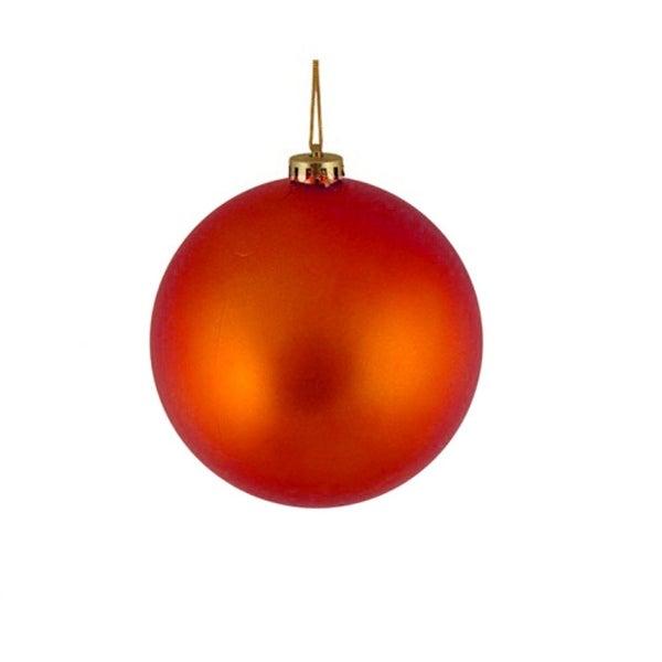 """Shatterproof Matte Burnt Orange Christmas Ball Ornament 4"""" (100mm)"""