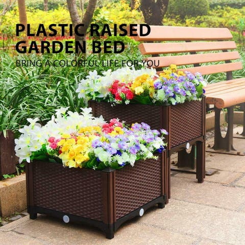 Raised Multi-tier Indoor/ Outdoor Rattan Garden Planter Box Kit