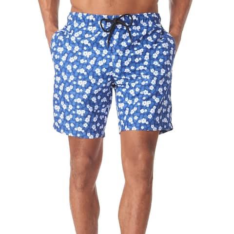 Tallia Mens Swimwear Blue Size Large L Floral Pineapple Print Trunks