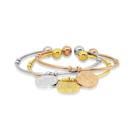 Ladies 3pc stainless steel, 18k gold plated, and 18k rose gold plated St. Benedict charms cuff bracelet