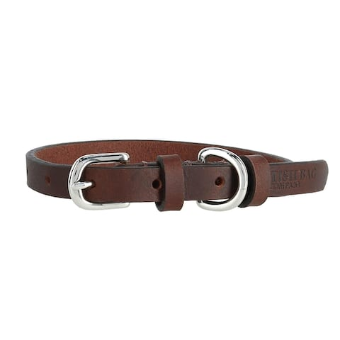 The British Bag Company 15 MM (1/2 inch) Width Leather Dog Collar - 12 to 15 inches