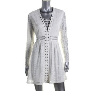 Bardot Womens Lace-Up Cut-Out Cocktail Dress