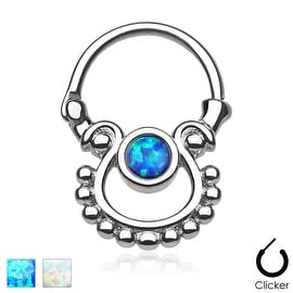 Single Opal 316L Surgical Steel Septum Clicker (Sold Indiv.)