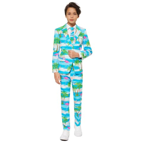 Blue and Pink Flaminguy Teen Boy Flamingo Printed All Year Suit - Large