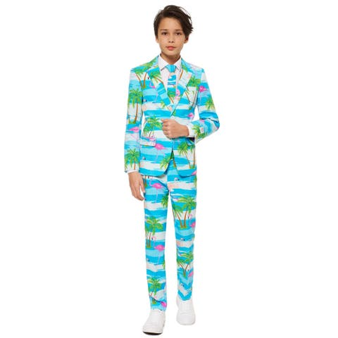 Pink and Blue Flaminguy Teen Boy Flamingo Printed All Year Suit - Medium