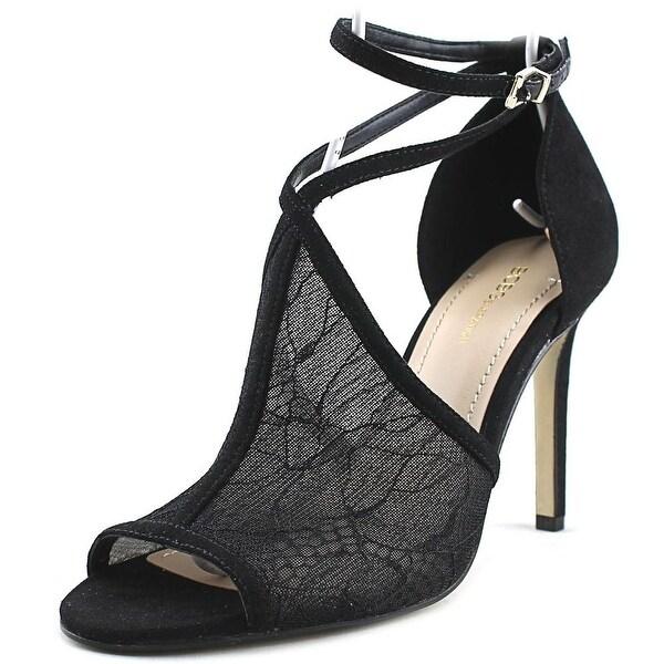 BCBGeneration Mikesha Women Open-Toe Canvas Black Heels