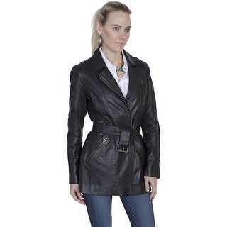 Scully Western Coat Womens Classic Leather Belted Zipper Black L330