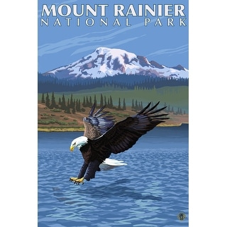 Mount Rainier, WA - Eagle Fishing - LP Artwork (100% Cotton Tote Bag - Reusable)