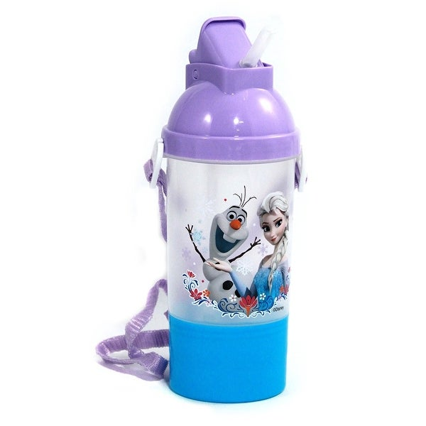 Disney Frozen Rock N Sip N Snack 15 oz Canteen with Straps Sport Tumbler Cup