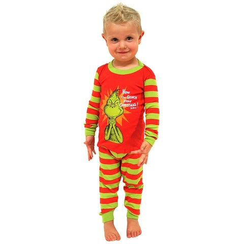 Intimo Toddler Kids Boys and Girls Dr Seuss The Grinch Evil Smile Pajama Set