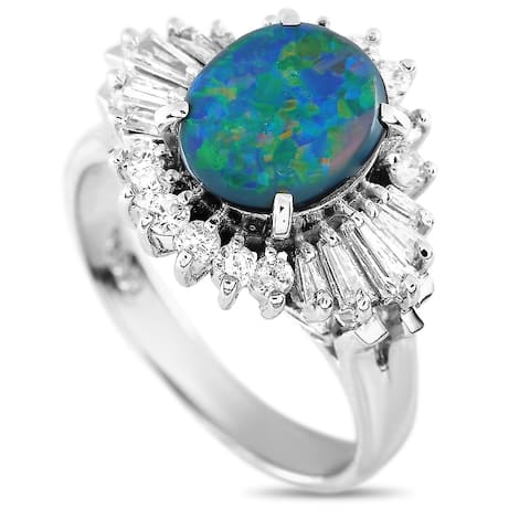 Platinum 0.38 ct Diamond and Opal Ring Size 5.25