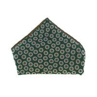 Brunello Cucinelli Green Wool Colorblock Inset Circles Pocket Squares
