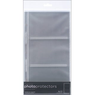 """American Crafts Page Protectors Side-Loading 6""""X12"""" 10/Pkg-(3) 6""""X4"""" Pockets"""