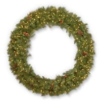 Pre-Lit Spruce Pine Cone Artificial Christmas Wreath - 60-Inch, Warm White LED Lights - Green