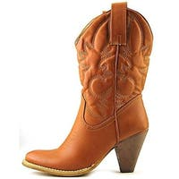 Spite Womens Saddleup Cowboy, Western Boots Faux Leather Detail Stitching
