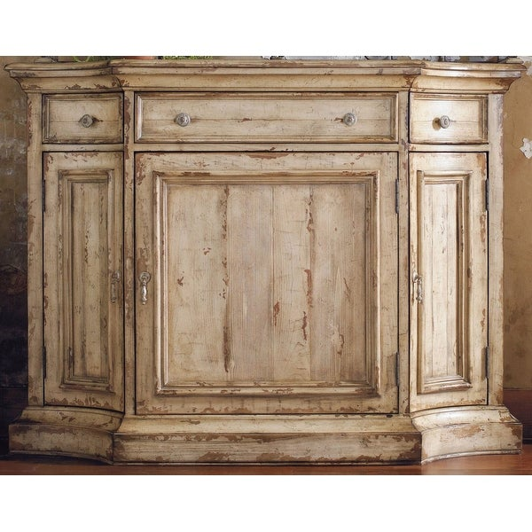 """Hooker Furniture 5004-75900 56"""" Wide Hardwood Cabinet from the Wakefield Collection - Distressed Taupe White"""