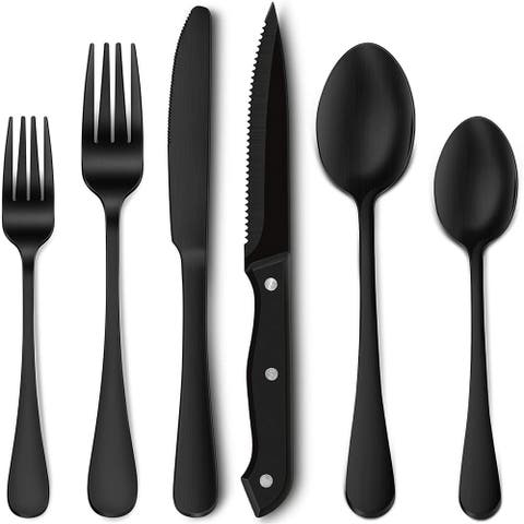 24-Piece Matte Black Silverware Set with Steak Knives, Stainless Steel Flatware Cutlery Set, Service for 4