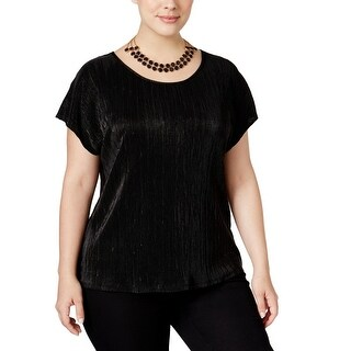 NY Collection Womens Plus Casual Top Metallic Crinkle