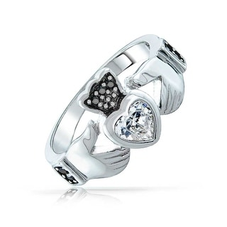 Bling Jewelry Sterling Silver Black CZ Heart Claddagh Ring
