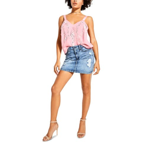 Guess Womens Addison Camisole Top Embroidered Sequined