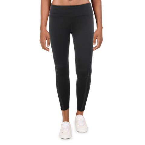 Splendid Women's Metallic Trim Quick Dry Fitness Activewear Leggings - Black