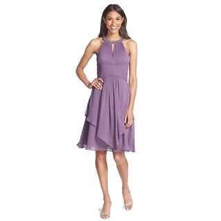 Embellished Neck Layered Chiffon Fit & Flare Dress, Purple, 12