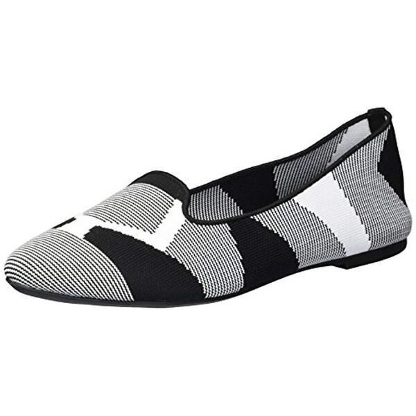 b683cdc3bef5f Skechers Women's Cleo-Sherlock-Engineered Knit Loafer Skimmer Ballet Flat,  Black/White, 9.5 M US