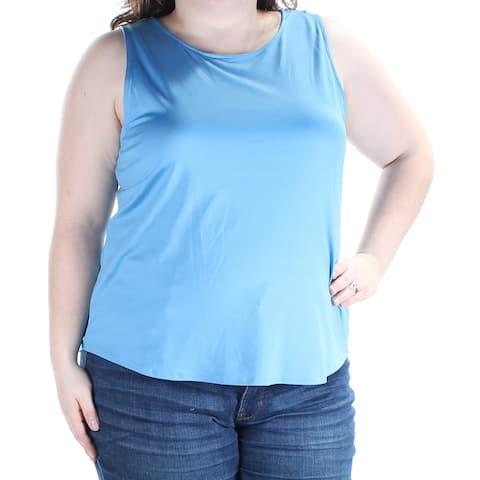 CHARTER CLUB Womens Blue Sleeveless Jewel Neck Top Size: XXL