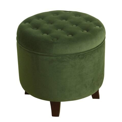 Carbon Loft Hackback Velvet Forest Green Round Storage Ottoman