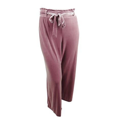 INC International Concepts Women's Velvet Wide-Leg Paperbag Pants