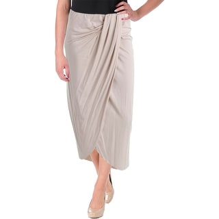 Three Dots Womens Draped Faux Wrap Maxi Skirt