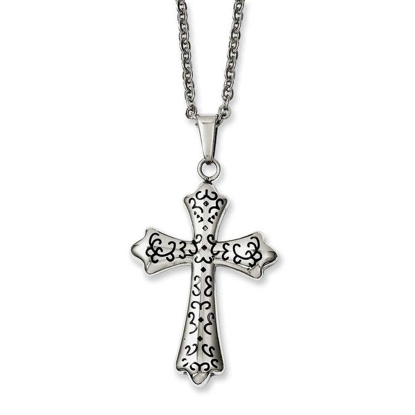 Stainless Steel IP Black-plated Cross Pendant 20in Necklace (1 mm) - 20 in