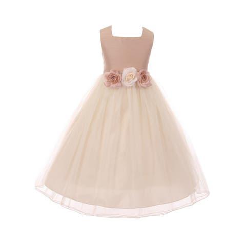 Kids Dream Girls Vintage Rose Satin Tulle Junior Bridesmaid Dress