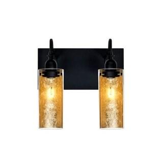 Besa Lighting 2WG-DUKEGF Duke 2 Light Vanity Strip with Handcrafted Glass and Gold Foil Applique