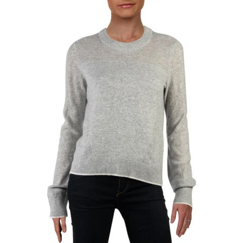Rag & Bone Womens Pullover Sweater Cashmere Ribbed Trim - Light Grey - S