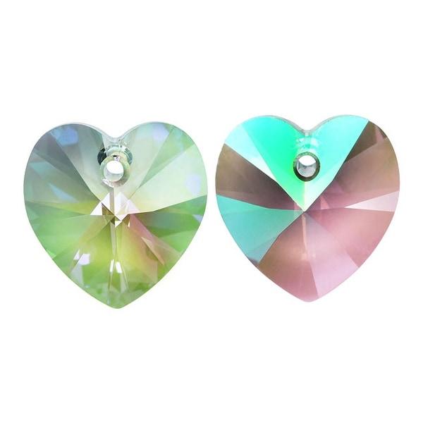 Swarovski Elements Crystal, 6228 Heart Pendants 14mm, 2 Pieces, Crystal Paradise Shine