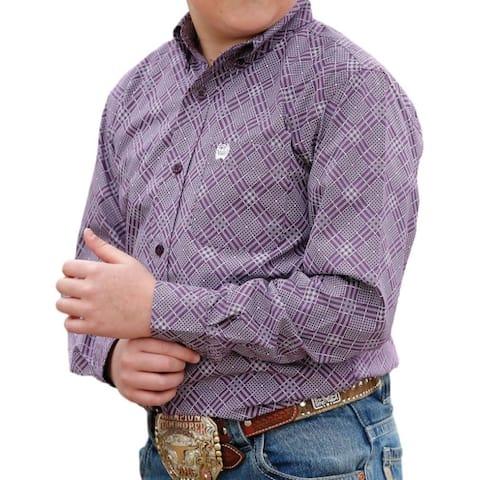 Cinch Western Shirt Boys Long Sleeve Button Plain Weave - Purple