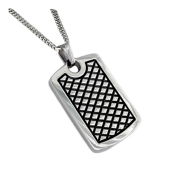 Stainless Steel Antiqued Dog Tag - 24 inches