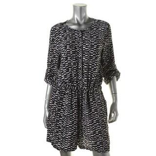 Vince Camuto Womens Tropical Rain Printed Adjustable Sleeves Romper - M