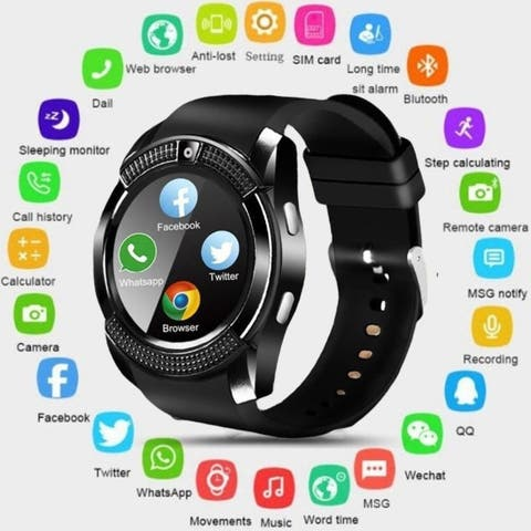 Smart Watch Bluetooth Touch Screen Android Waterproof Sport Smartwatched with Camera SIM Card Slot